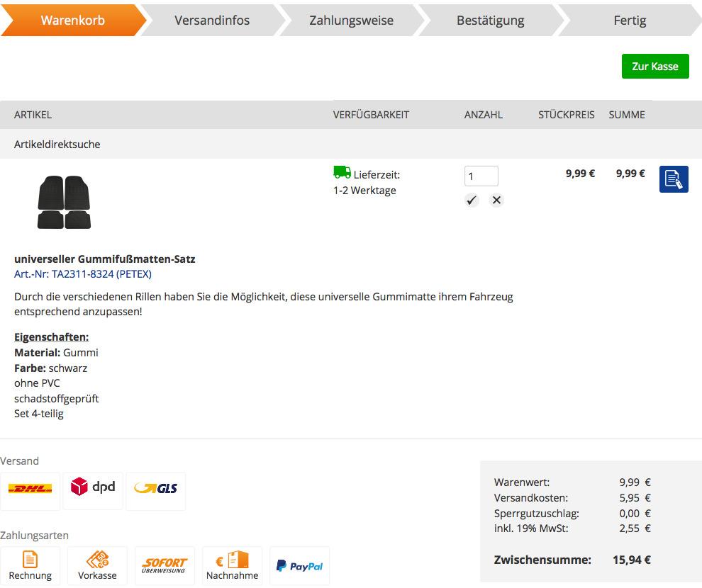 kfzteile24 Warenkorb