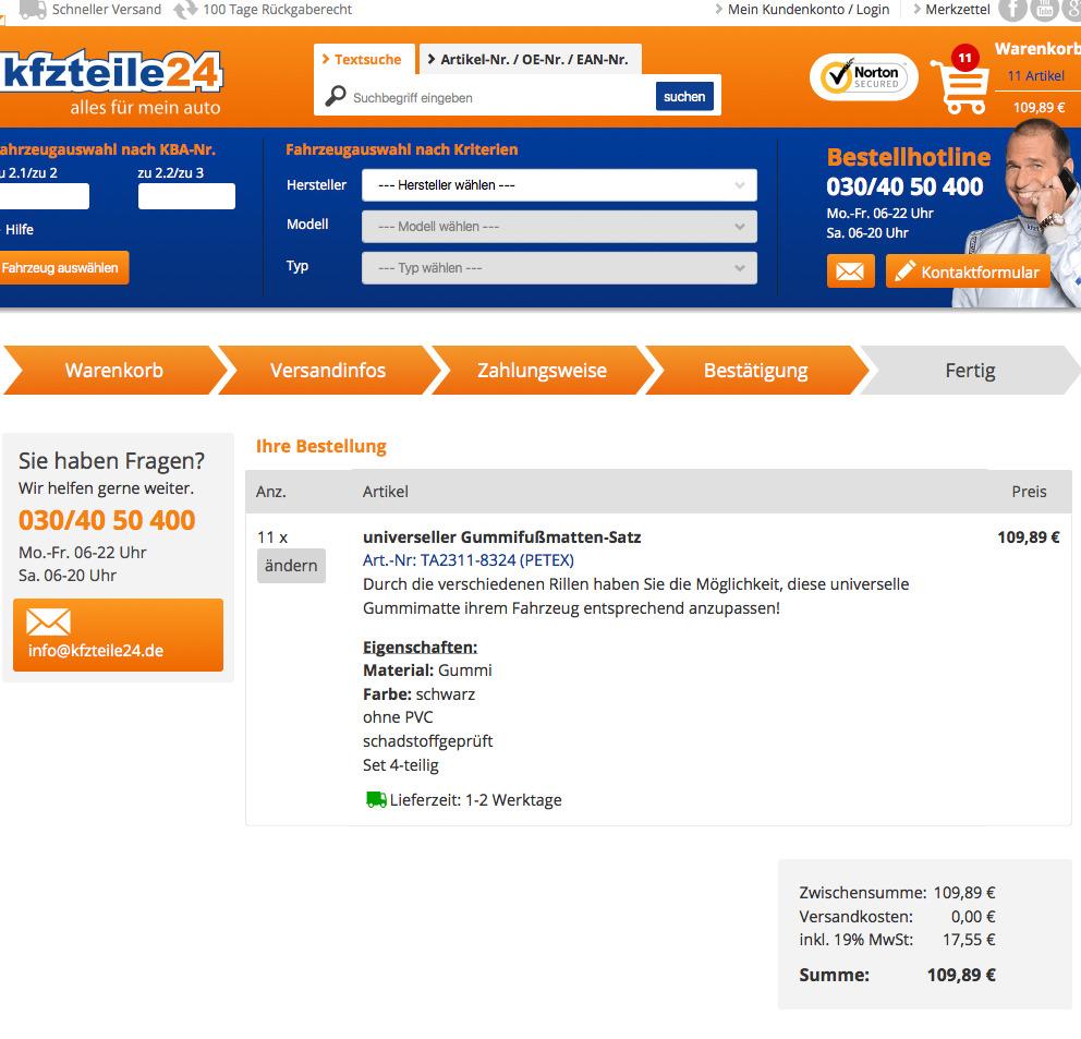 kfzteile24 bestellung abschließen