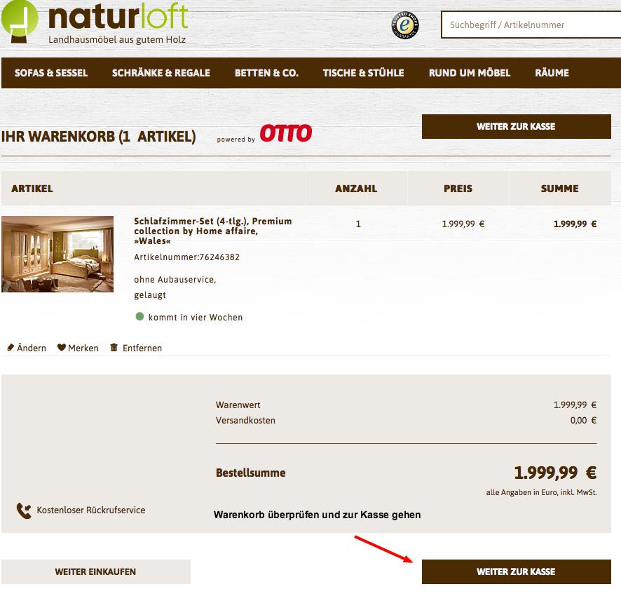 naturloft Warenkorb